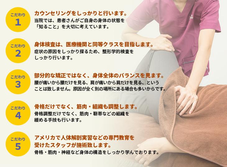 1.カウンセリングをしっかりと行います。2.身体検査は、医療機関と同等クラスを目指します。3.部分的な矯正ではなく、体全体のバランスを見ます。4.骨格だけではなく、筋肉・組織も調整します。5.アメリカで人体解剖実習などの専門教育を受けたスタッフが施術いたします。